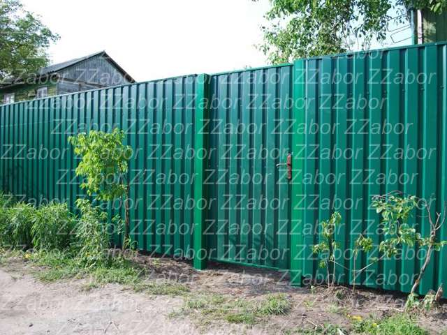 Сосновый бор, СНТ Строитель, Зеленый профлист, ворота, калитка в подарок, заливка столбов бетоном, цена под ключ 46870 рублей