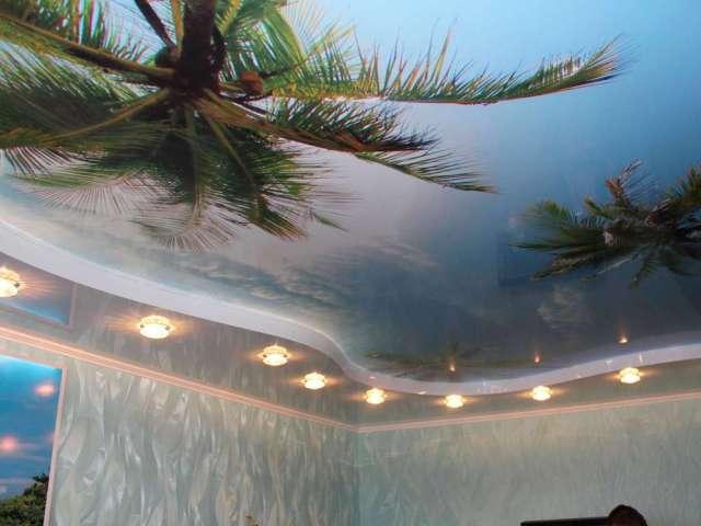 Большевиков д. 2, Двухуровневый потолок в фотопечатью и светильниками, Цена 11560 рублей