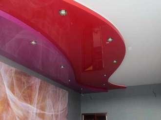трехуровневый матовый натяжной потолок