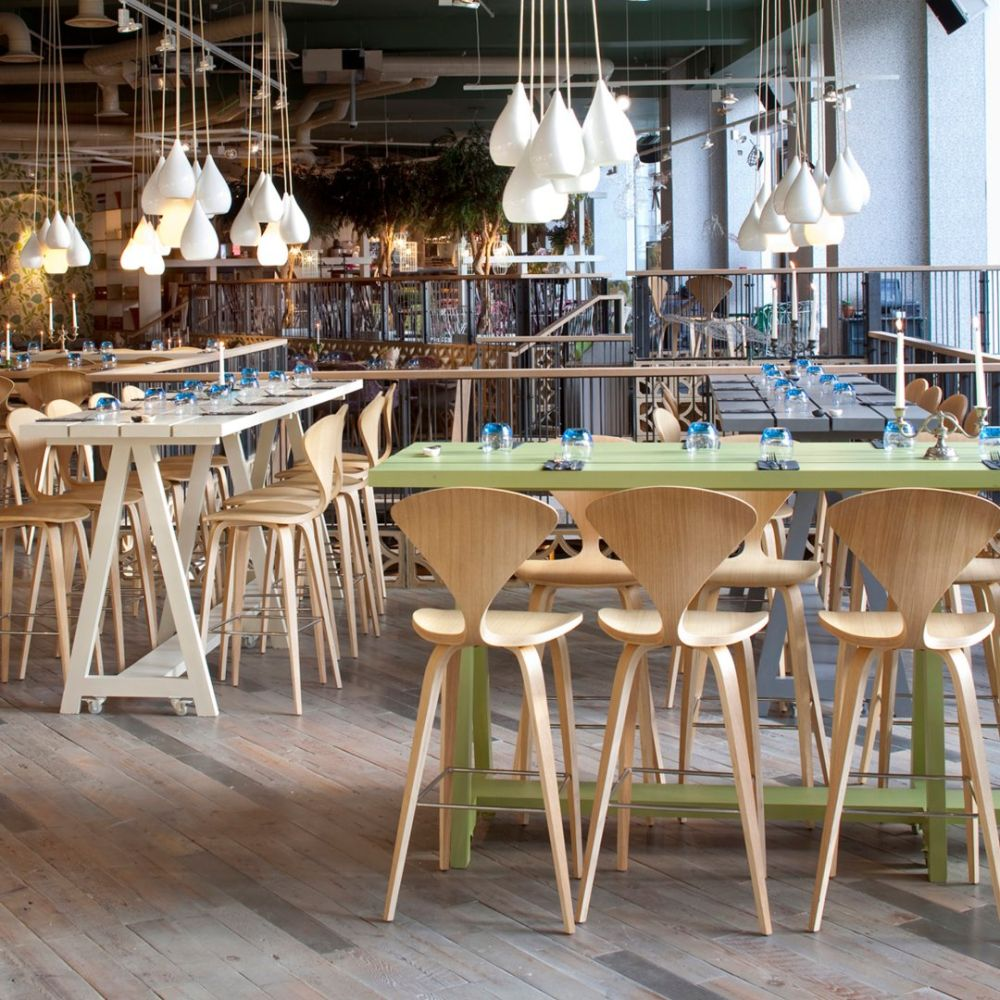 Modern Cherner Chairs in a restaurant.