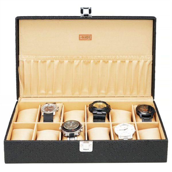LEDO Watch Box Organizer Storage Case for Men and Women in Black Color with 12 Slots of Watches