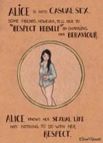 """Ad Alice piace il sesso occasionale. Alcuni amici però, le dicono di cambiare il suo comportamento per """"rispettare se stessa"""". Alice sa che la sua vita sessuale non ha niente a che vedere col suo rispetto."""
