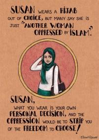 """Susan porta l'hijab per scelta, ma molti dicono che è solo """"un'altra donna oppressa dall'Islam"""". Susan, quello che porti è una tua decisione, e sarebbe un'oppressione spogliarti della tua libertà di scelta!"""