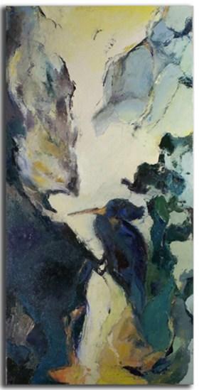 Oiseau Huile sur toile 40cm x 70cm (Réservé)