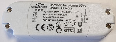 Eagle Rise 230V 60VA AC transformator 11.5V AC   Halogen
