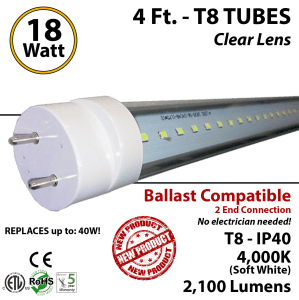 18w 4ft LED T8 tube light fluorescent replacement 4000K