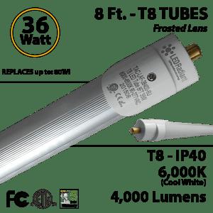 8 ft T8 Tube Light 36 watt LED replaces T12 75 W