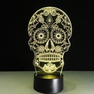 3D светильник Череп с узорами