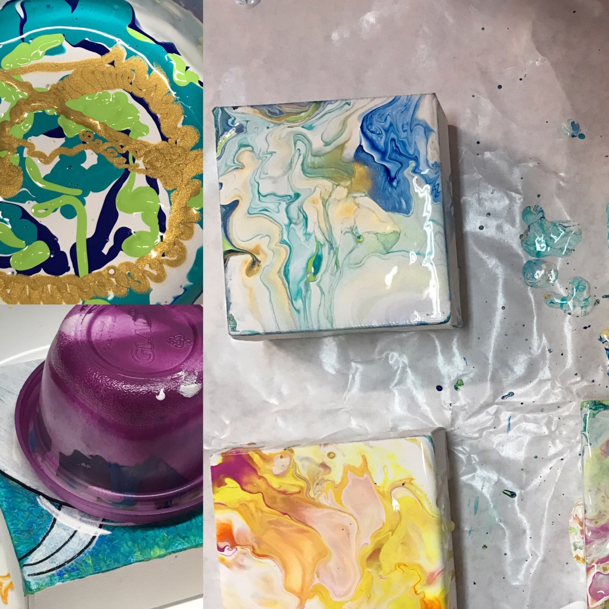 ©Lori Edwards , mini acrylic flow paintings in process Corpus Christi, TX