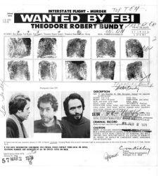 American serial killer Ted Bundy fingerprint file. Found on Pinterest.
