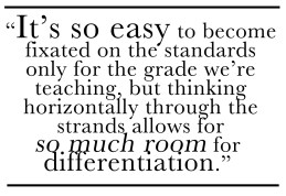 """It's so easy to become fixated on the standards only for the grade we're teaching, but thinking horizontally through the strands allows for so much room for differentiation."""