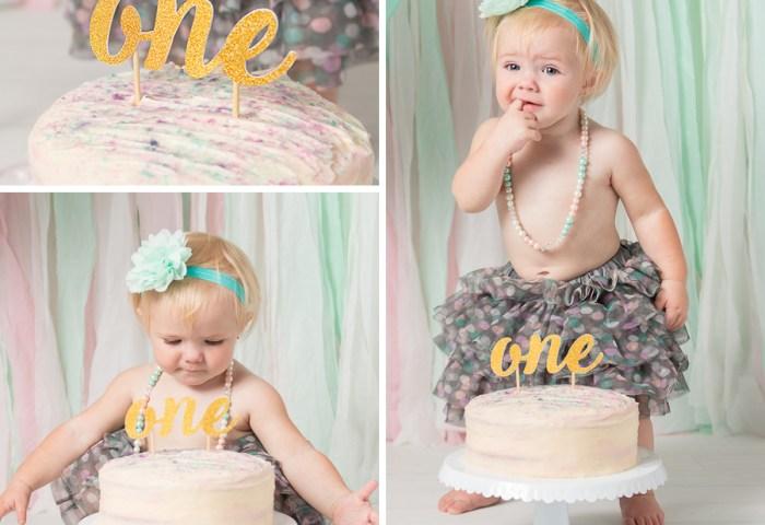 Baby Girl First Birthday Cake Smash Arthur Photographer
