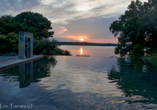 A beautiful sunset at the Dallas Womans Garden at the Dallas Arboretum.