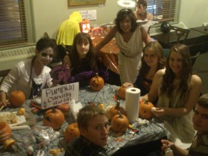 Orillia Youth Centre pumpkin carvers with author  Lee Bice-Matheson