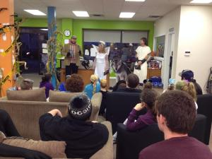 Kevin Gangloff introduces Lee Bice-Matheson at the Halloween Spooktacular held Oct 30'14
