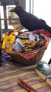 Of course, candy is a must on Halloween. I believe our friend, the crow, drew Judy over. Can you see what's hidden in the basket? Yes, it's a wolf's head. I was Little Red Riding Hood at Chapters Barrie, October 24th, to kickoff Halloween week. Must have a sense of humour on Halloween.