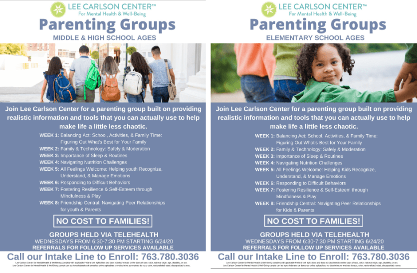 Lee Carlson Center is offering no cost parenting groups for parents of school age children!
