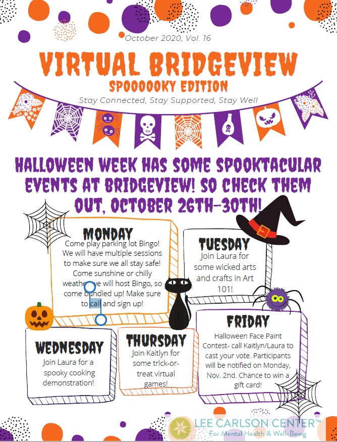 Bridgeview Virtual Drop-in Announces Halloween Week Spooktacular Events at Bridgeview! October 26th-30th