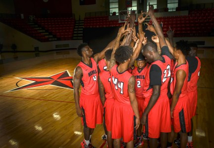 Sophomore guard Tim Coleman (center) is among the standout players on the Lee College Basketball Team, which will face off Saturday, Nov. 7, against Houston Community College-Southwest in the second home game of the 2015-16 season. Rebel Nation, formerly known as Former-LEE, is sponsoring a free tailgate party to be held from 3:30-5:30 p.m. before the Runnin' Rebels hit the court. The tailgate is free and open to the community.
