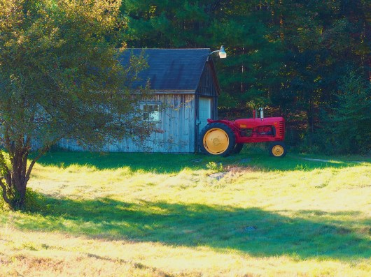 Tractor at the end of Fletcher Street, Dunstable, MA
