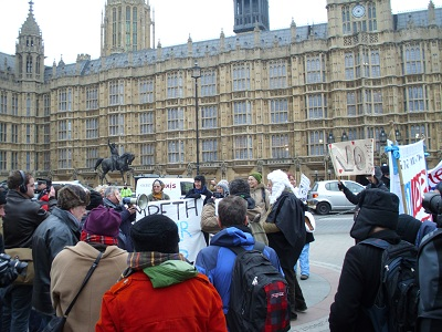 Protest outside House of Lords 9th Feb