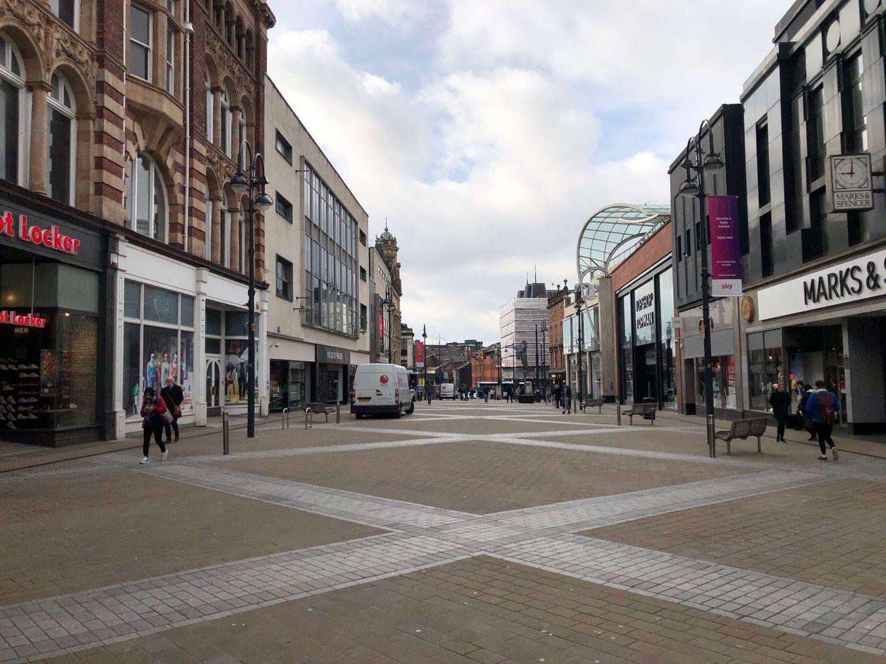A very empty Leeds City Centre.