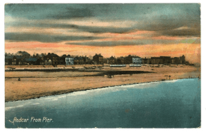 Postcard of Redcar from the Pier which refers to Carl de Bruyne, one of the Belgian refugees who came to Otley