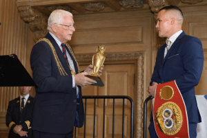 Josh was presented with a golden owl by the Lord Mayor, Cllr Graham Latty, in recognition of his achievements.
