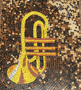 One of the music-themed mosaics created for a similar project.