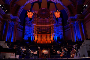 Musicians from the Orchestra and Chorus of Opera North in Leeds Town Hall, Switch ON Season Launch, September 2020 credit Justin Slee