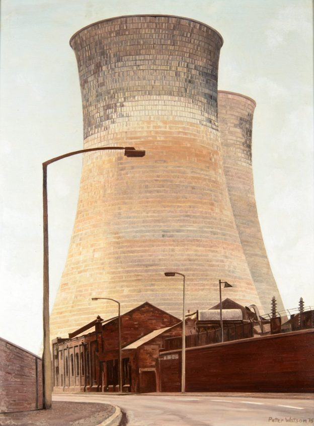 Cooling towers in Rawmarsh Road, Rotherham, 1975