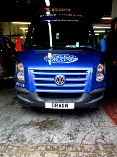 Pimlico Plumbers' own registration van DRA 11N