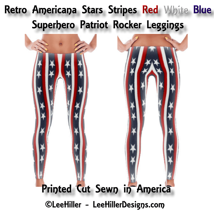 Retro Americana Stars Stripes Red White Blue Superhero Patriot Rocker Leggings