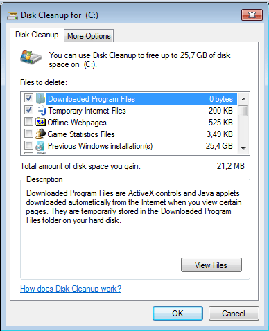 Free up disk by removing the Windows.old folder