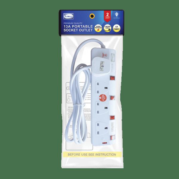 Extension Socket-ES-704N(SP) (2mtr) (Packaging)