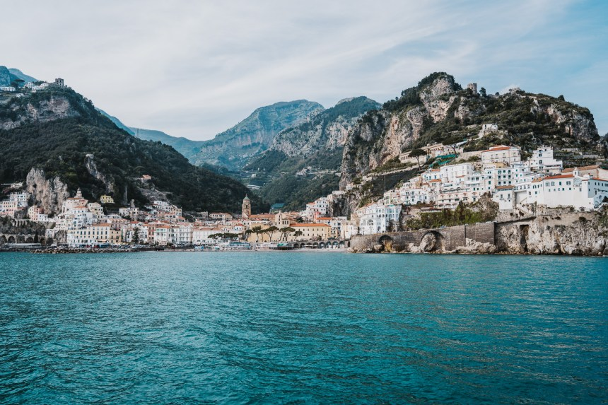 artwork of italy amalfi coast teal ocean and mountains