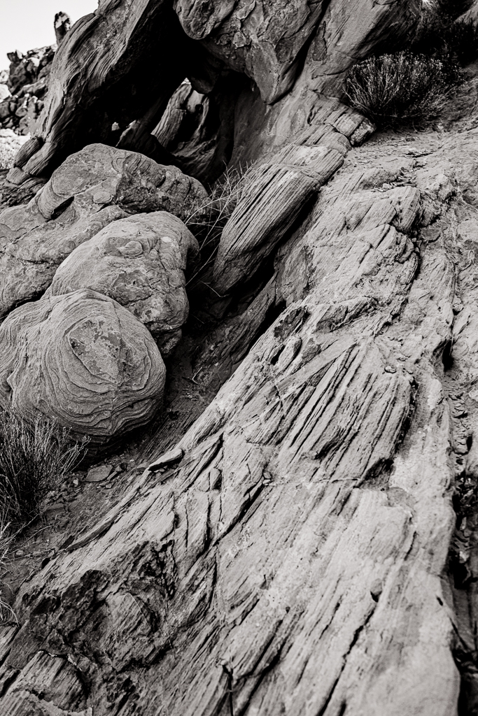 black and white photography rock logandale trail art