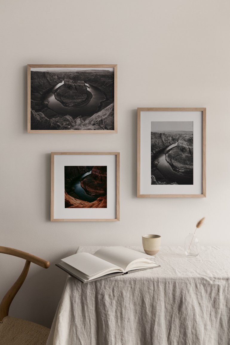 art photography gallery wall in home interior design inspo