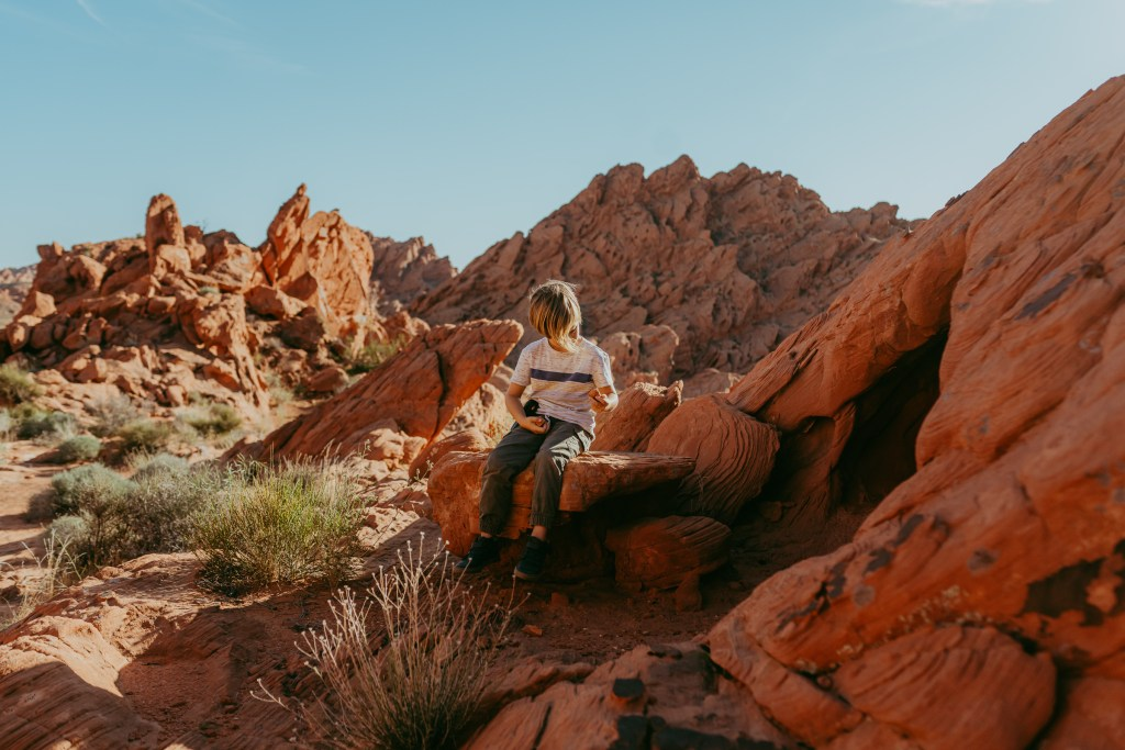 boy in the desert logandale trail valley of fire nevada
