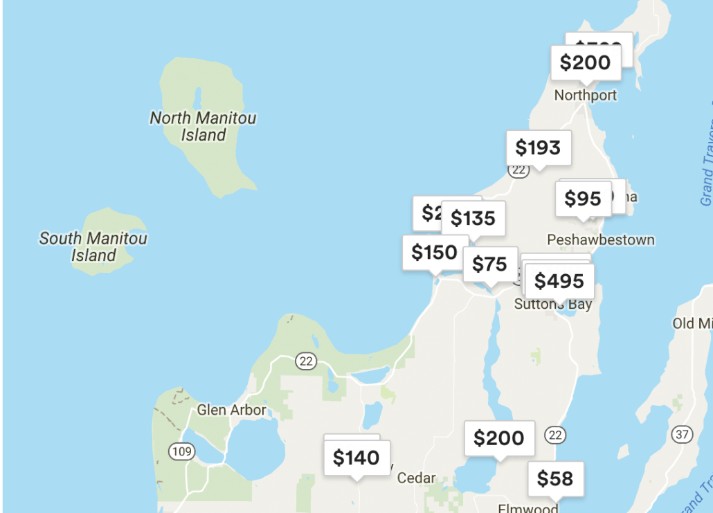 Sutton Bay Michigan Map.Suttons Bay Top 20 In Airbnb Tax Collection Leelanau Com