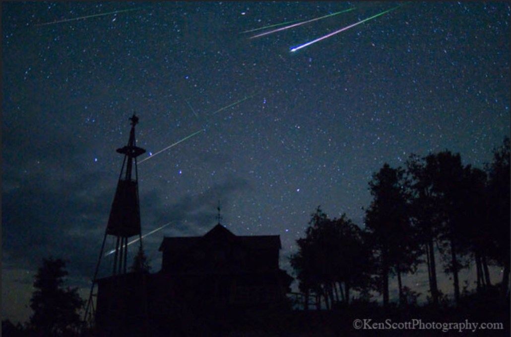 Perseid Meteors over Cathead Point by Ken Scott Photography