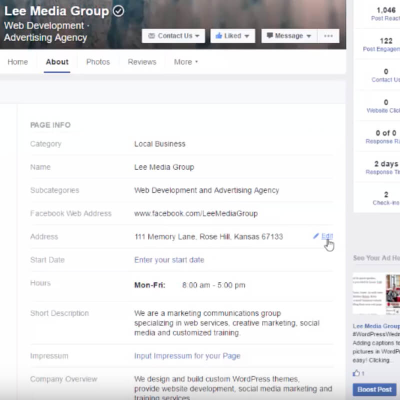 How to Update Your Facebook Business Page About Section