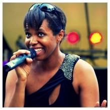 Juno award winning jazz singer Kellylee Evans at Perth, Ontario's Stewart Park Music Festival. 2011.
