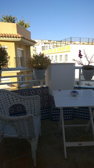 The cute little terrace at our apartment