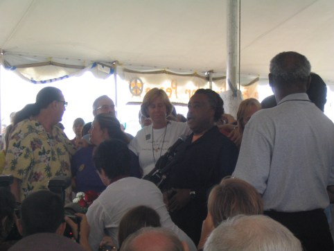 Rev. Al Sharpton, Cindy Sheehan before Interfaith Memorial Service 8-28-05. He rocked the house!