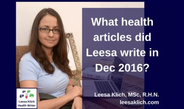 What health articles did Leesa write in December 2016?