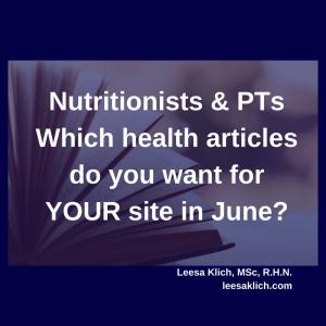 Health articles June 2017