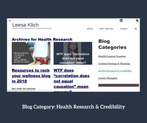 cateogories ideas health research & credibility