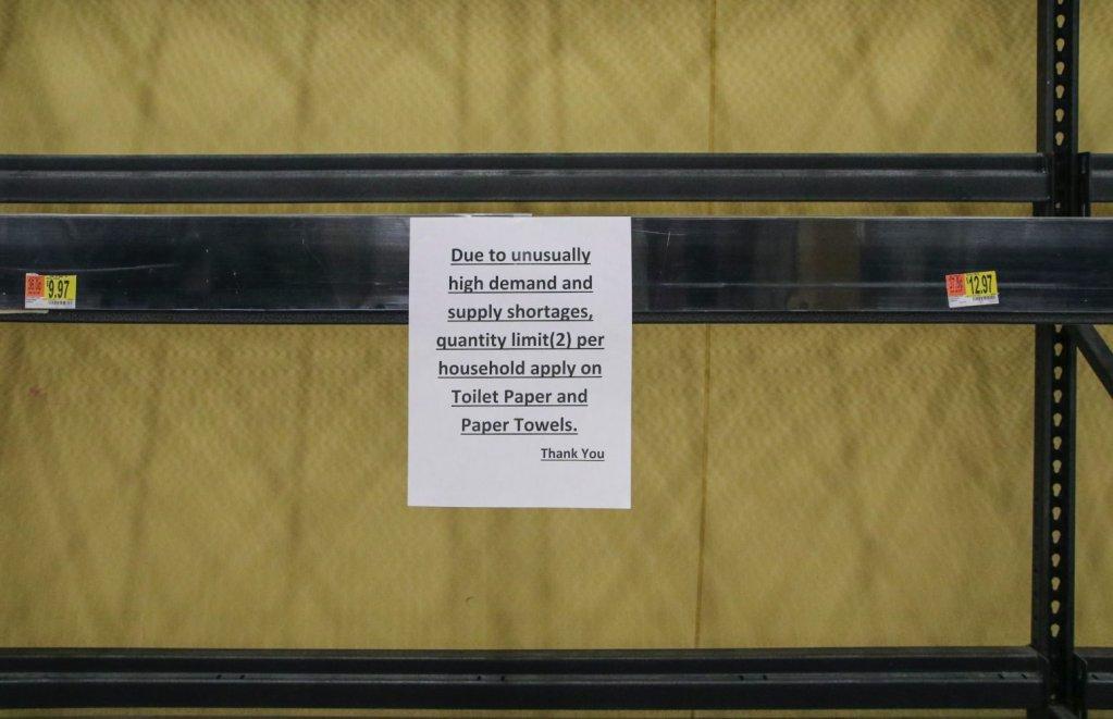 pandemic food empty toilet paper shelves