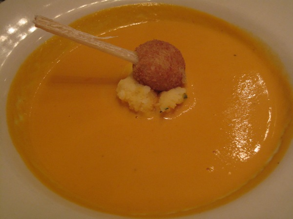 Lobster bisque with crab cake on sugar cake